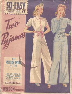 "1940s WW2 Vintage Sewing Pattern B34"" PYJAMAS (1363) | eBay"
