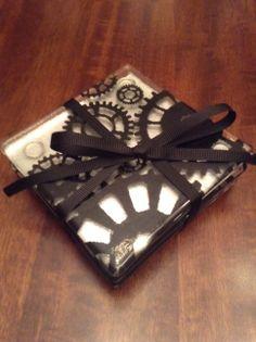 Fused Glass Steampunk Coaster Set