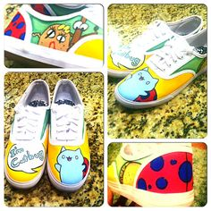 Hand Painted Catbug Shoes  by ThePigeonShoeParlor on Etsy  #catbug #handpaintedshoes
