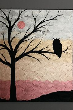 Unique textured painting of owl on tree branches with moon.