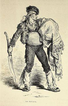 """""""La Navaja"""", dibujo de Gustave Doré grabado por Fournier para la obra  'L'Espagne par le baron Ch. Davilliers, illustrée...' París: Hachette, 1874. http://gallica.bnf.fr/ark:/12148/bpt6k1044806r/f110"""