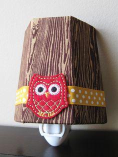 Little Red Owl In The Trees - Children's - Night Light {adorable custom night lights on etsy}