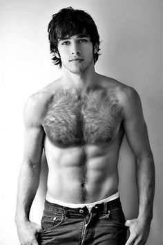 Hunky shirtless man with hairy chest