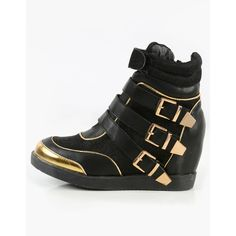 Strappy Glitter Wedge Sneakers  BLACK ($22) ❤ liked on Polyvore featuring shoes, sneakers, black, wedged sneakers, metallic sneakers, black wedge heel sneakers, metallic wedge sneakers and black strap shoes
