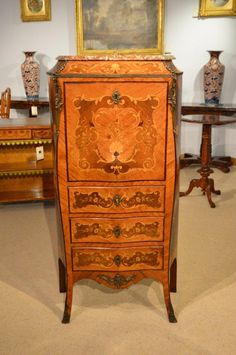 A Louis XVI Style Rosewood & Marquetry Secretaire Abattant C1880-1900