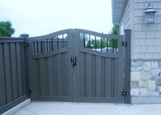 Fancy double arched gate? I like it. Arch Gate, Door Gate, Fence Gate, Grey Fences, Composite Fencing, Side Gates, Double Gate, Privacy Fences, Fence Design