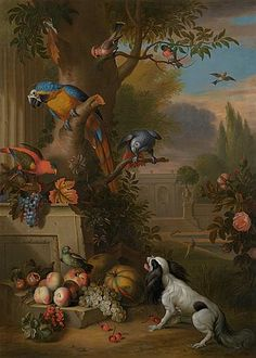 Tobias Stranover - Exotic birds with fruit and a dog in a park landscape