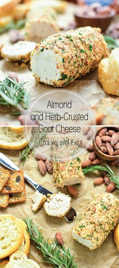Almond and Herb Crusted Goat Cheese: the perfect snack to serve at your next gameday party! Easy Appetizer Recipes, Yummy Appetizers, Dip Recipes, Blue Cheese Ball Recipe, Fingers Food, Fromage Cheese, Beer Cheese, Goat Cheese Recipes, Balls Recipe