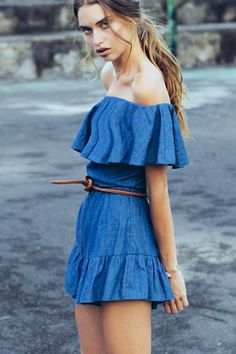 1ca8ba0f3227 GENIE OFF THE SHOULDER FRILL PLAYSUIT. Curate · Shakuhachi