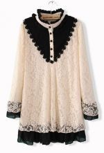 White Buttons Embellished Embroidery Lace Dress $32.58  #SheInside #hipster #love #cute #fashion #style #vintage