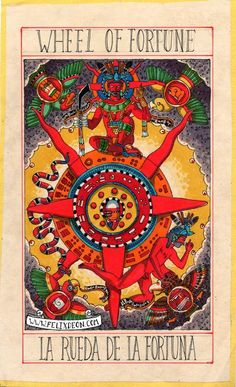 Felix d'Eon ~ Aztec Tarot Deck Wheel of Fortune.  Not an art style I usually go for, but this is stunning.  Love it.