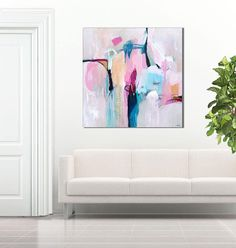 Abstract painting large pink blue abstract art print