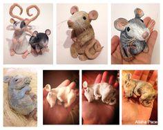 CUSTOM Polymer Clay Rat Figurine Pet by SoUglyitsCuteCrafts, $50.00