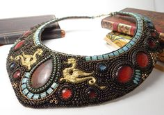 High end statement necklace, OOAK bib necklace with a pair of dragons and chrysocolla cabochon, bead embroidery , Bead Embroidery Jewelry, Beaded Embroidery, Beaded Jewelry, Beaded Bracelets, Necklaces, Dragons, Art And Craft, Short Necklace, Beads And Wire