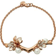 Shaun Leane 'Cherry Blossom' diamond bracelet (58.350 RUB) ❤ liked on Polyvore featuring jewelry, bracelets, necklaces, metallic, diamond bangles, shaun leane jewelry, flower jewelry, diamond jewelry and rose jewellery