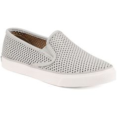 Sperry Seaside Perforated Slip-On Sneakers featuring polyvore, women's fashion, shoes, sneakers, grey, platform sneakers, slip-on sneakers, grey sneakers, grey slip on sneakers and leather slip on shoes