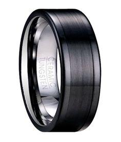 Bridal Wedding Bands Decorative Bands Stainless Steel Brushed and Polished Black CZ Hammered Ring Size 12.5