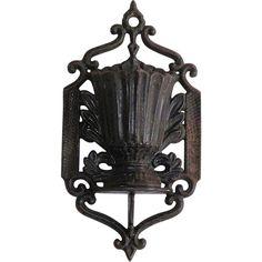 Victorian Cast Iron Wall Hanging Match Holder