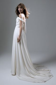 Back view of the Charlotte Silk Crepe Corset Dress with Full Circle Skirt Wedding Dress by Halfpenny London