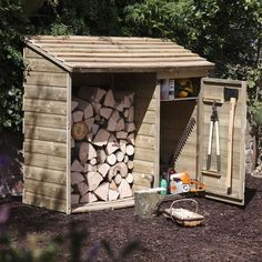 This Forest Garden Wooden Log Store and Tool Storage Shed features an innovative design that allows you to keep your fire wood and relevant tools all in one convenient place, neatly and safely secured. This strong and sturdy wooden storage shed offers am Garden Tool Shed, Garden Tool Storage, Shed Storage, Garden Sheds, Extra Storage, Firewood Shed, Firewood Storage, Backyard Sheds, Outdoor Sheds