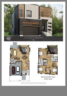 Planos casas y proyectos Modern House Floor Plans, Sims House Plans, Contemporary House Plans, Dream House Plans, Small House Plans, Modern House Design, Small Modern Houses, Home Building Design, Home Design Plans
