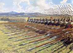 Macedonian phalanx. Primary infantry formation from Philip and Alexander through the fall of the successor states. Note the hypaspists guarding the exposed flanks.