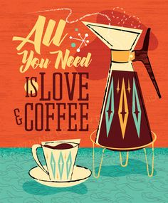 Mid Century Modern Coffee illustration coffee lovers poster by Diane Dempsey Design. Black Rock Coffee, Cafe Rico, Library Posters, Image Deco, Coffee Facts, Coffee Quotes, Kitchen Posters, Poster Art, Print Poster