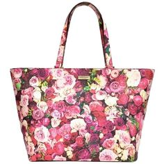 Pre-owned Kate Spade Grant Street Floral Multiple Roses Jules Harmony... ($165) ❤ liked on Polyvore featuring bags, multicolor, colorful bags, hardware bag, white handle bags, zip top bag and travel bag