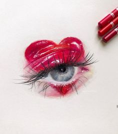 happy Valentine's Day!❤️ This eye drawing was created using the colored pencils sent me a while ago :)) The gorgeous… Cool Eye Drawings, Pencil Art Drawings, Realistic Drawings, Art Drawings Sketches, Colorful Drawings, Aesthetic Drawing, Aesthetic Art, Rose Drawing Tattoo, Drawing Eyes