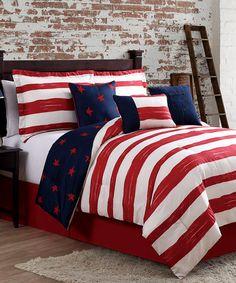 Look at this #zulilyfind! Red, Navy & Ivory Americana Six-Piece Comforter Set #zulilyfinds