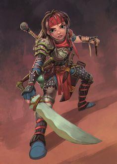 f Halfling Rogue Thief Studded Leather Armor Swords Traveler lg Fantasy Wizard, Fantasy Races, Fantasy Warrior, Fantasy Rpg, Medieval Fantasy, Dnd Characters, Fantasy Characters, Female Characters, Pathfinder Character