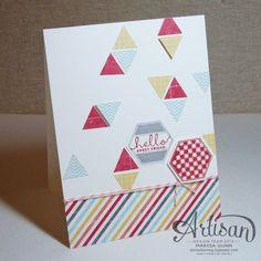 SU Artisan Design Team 2012, July 2013, Moxie Fab World Trendy Triangles Challenge, Six-Sided Sampler hello friend card, by Marisa Gunn