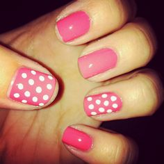 Painted my nails coral with polka dots (: