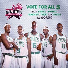 Only 7 days left to vote your favorite #Celtics into the #NBAAllStar game. Text the names PIERCE, RONDO, GARNETT, TERRY or GREEN to 69622. You can also tweet your vote by using the #NBABALLOT tag.