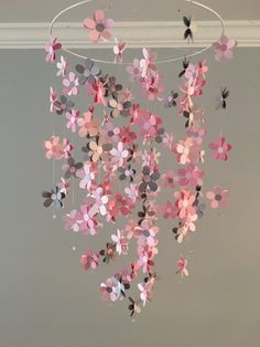 Flower mobile - in gray and pink, nursery mobile, baby girl mobile, photo prop, baby mobile by DragonOnTheFly on Etsy https://www.etsy.com/listing/287020273/flower-mobile-in-gray-and-pink-nursery