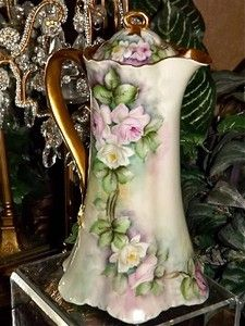 Limoges Lovely Ranson Chocolate Pot with Delicate White and Pink Cascading Roses