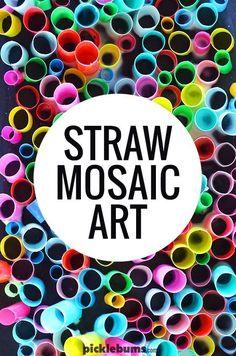 Straw mosaic art - a super cool, super easy, art activity.