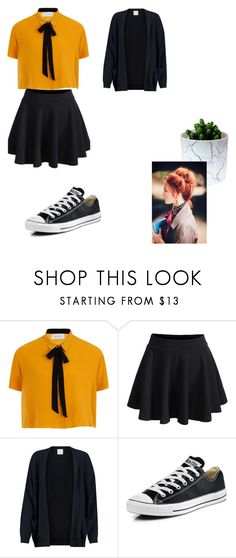 """Untitled 2"" by alexa-borcea on Polyvore featuring Elvi, Madeleine Thompson, Converse, school, black, indie and basic"