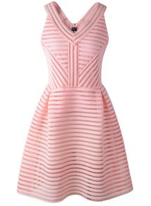 Pink V Neck Sleeveless Hollow Striped Dress