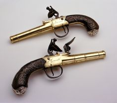 1782 British Cannon barrel flintlock pistols at the National Maritime Museum, London