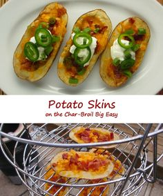 For me, the best part of these potato skins on the Char-Broil Big Easy isn't so much the toppings, though let's face it, I do love bacon and cheese and sour cream and jalapenos. No, it's actually the crispy potato skins. Brushing them with melted butter mixed with smokey chipotle powder really sets these skins apart from the usual. It's not all about the toppings. Every bite is fantastic.