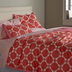 Genevieve Full/Queen Duvet Cover in 20% off Bedding and Mattresses | Crate and Barrel -- i like the quilt motif, tho reviews say it's more coral pink than red/orange