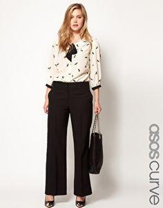 Asos Bi-stretch Clean Front Wide Leg - ShopStyle Plus Size Trousers Plus Size Womens Clothing, Plus Size Outfits, Plus Size Fashion, Size Clothing, Cute Work Outfits, Office Outfits, Office Wear, Latest Fashion Clothes, Latest Fashion For Women