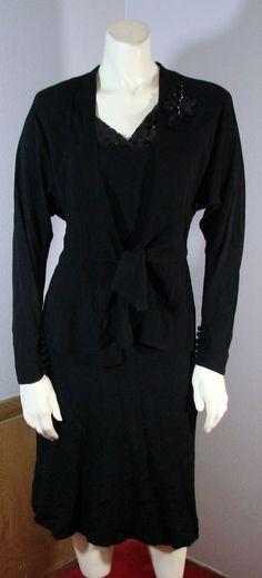 Vintage 40s Cocktail Dress & jacket sequins NRA label True Vintage black Crepe S #nobrand