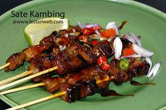 """Originated in Indonesia, SATAY is a widely renowned in almost all regions of the country and is getting more popular arround the world. It is considered to be a national dish and one of Indonesia's best dishes.   A famous variant among them is """"SATE KAMBING"""", it is popular in Java, made with goat, lamb or mutton. To be served either with Peanut Sauce or Sambal Kecap, an Indonesian relish made from sweet soy sauce, chilli, sliced shallots and diced tomatoes."""
