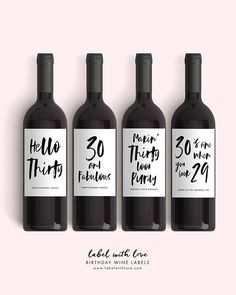 Set of 30th Birthday Wine Labels 4 Dirty Thirty Birthday