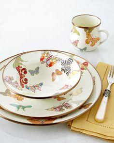 horschow glassware  | 4Y3J MacKenzie-Childs Butterfly Garden Dinnerware