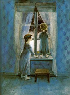 "Illustration by Ilon Wikland Look, Madicken, it´s snowing! by Astrid Lindgren From the book ""Christmas Stories"", Raben & Sjögren 1999 Art And Illustration, Christmas Illustration, Inspiration Art, Christmas Art, White Christmas, Oeuvre D'art, Illustrators, Book Art, Fairy Tales"