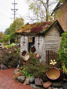 Perfect little garden shed for us and the planting roof is a new and awesome idea that I need to research more..
