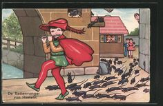 carte postale ancienne: CPA Illustrateur Margret Boriss: De Rattenvanger van Hameln spielt für Ratten